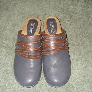 Blue and brown clogs